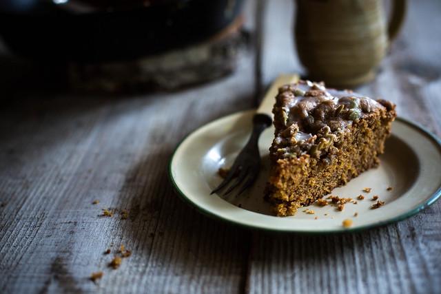 Crème Fraîche, Cornmeal, & Pumpkin Coffee Cake + Pepita Streusel by Beth Kirby
