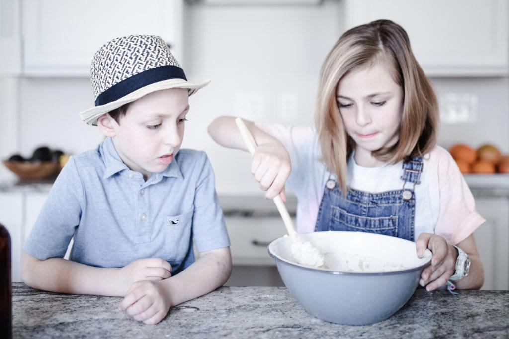 making bread with children