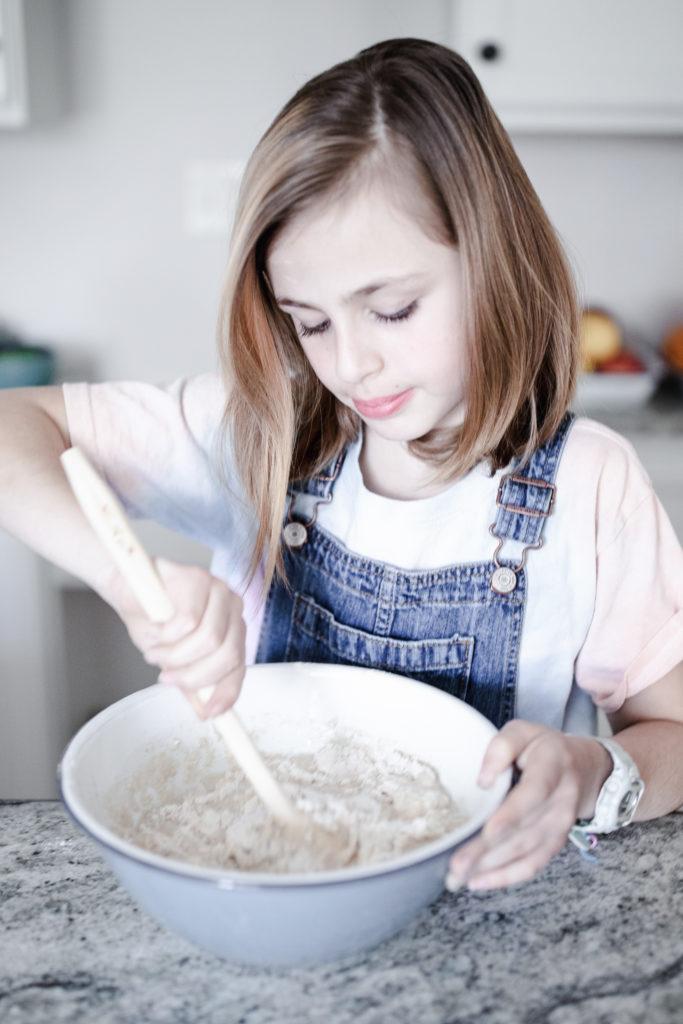 mixing bread dough
