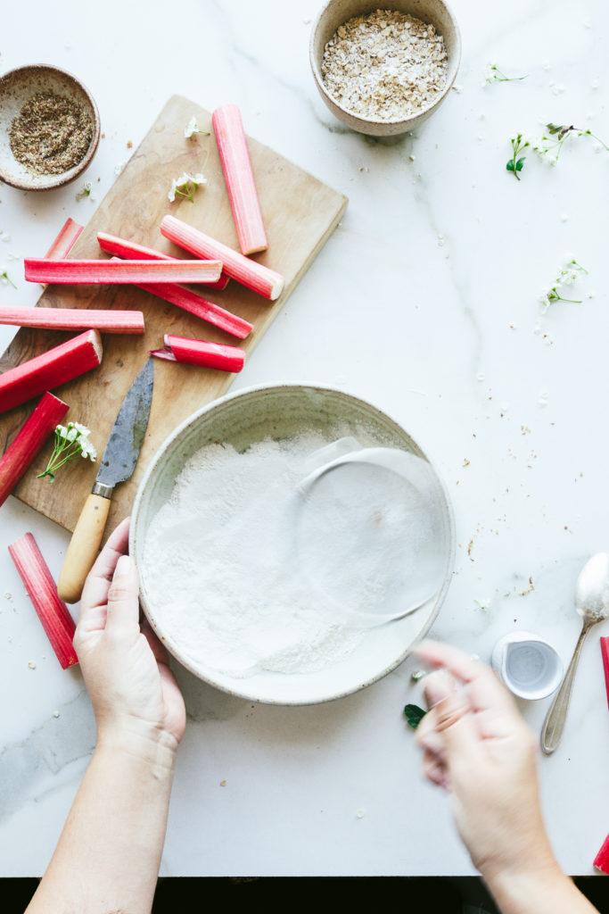 easy vegan rhubarb pancake