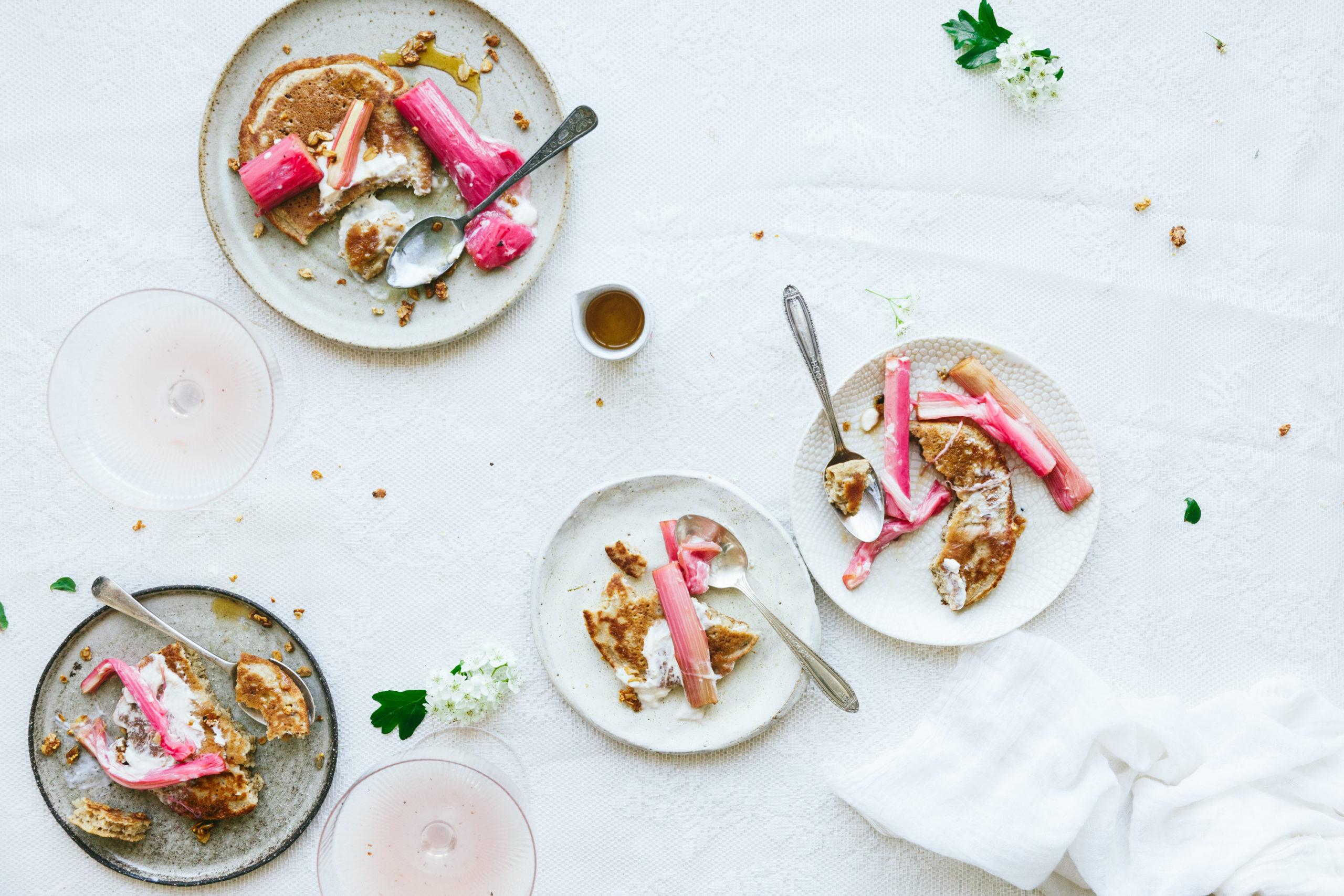Easy Vegan Pancakes with Roasted Rhubarb